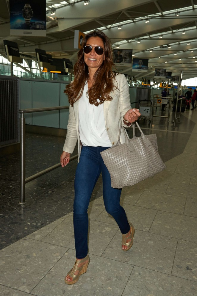 Melanie Sykes in Jeans at Heathrow Airport in London