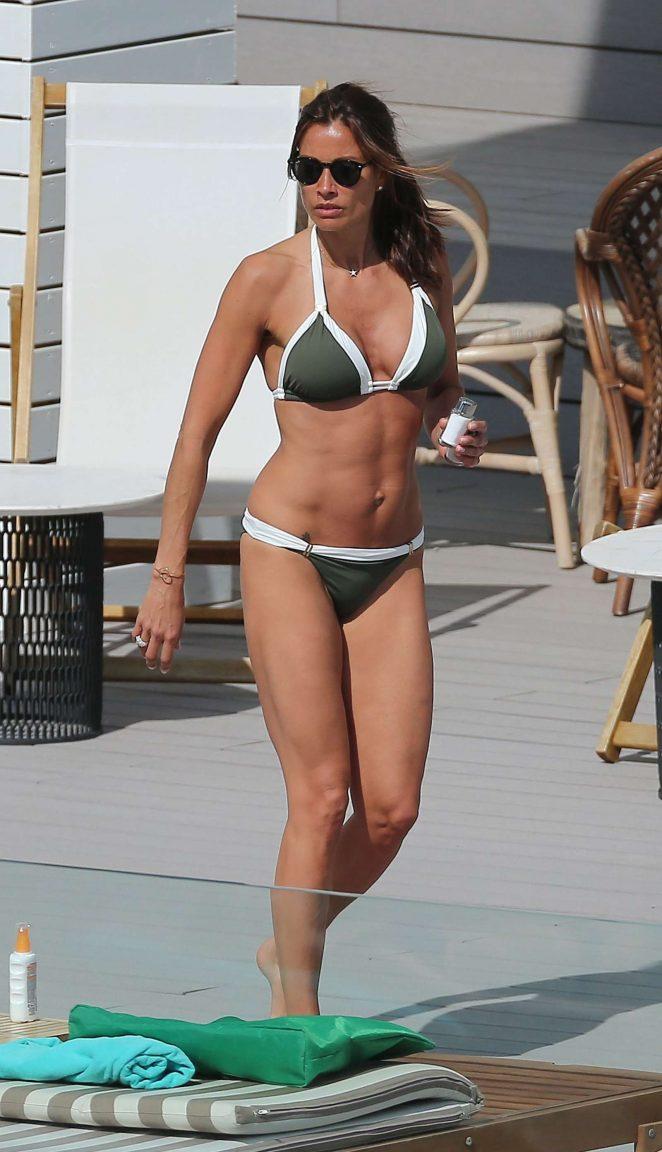 Melanie Sykes in Bikini at a pool in Ibiza