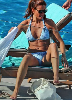 Melanie Sykes in Blue Bikini in Ibiza