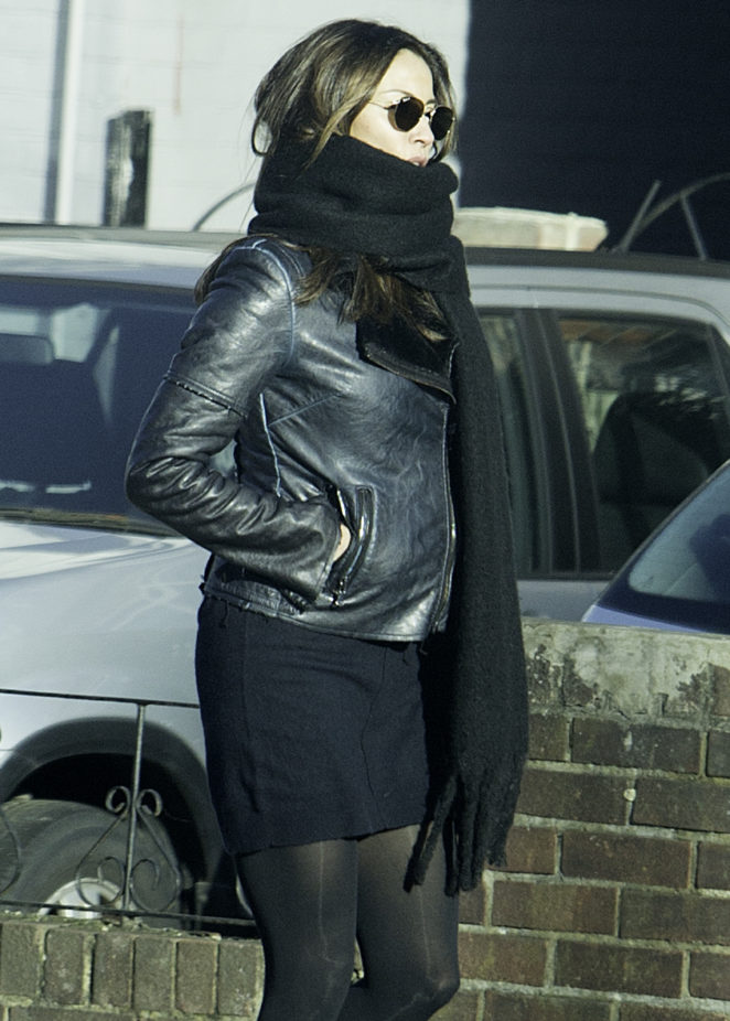 Melanie Sykes in Mini Skirt and Leather Jacket out in London