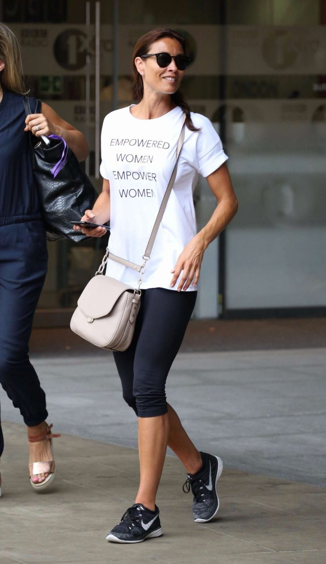 Melanie Sykes in Tights Leaving BBC radio in London