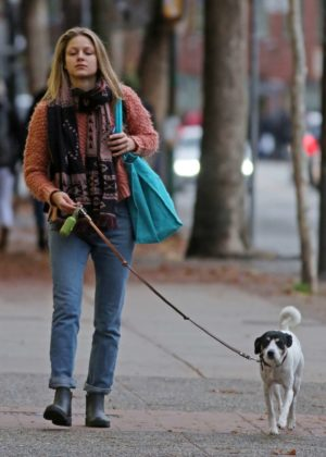 Melissa Benoist and her dog Farley out in Vancouver