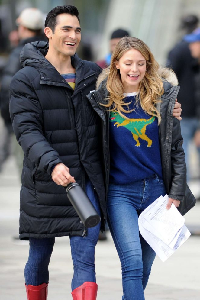 Melissa Benoist and Tyler Hoechlin – Filming 'Supergirl' and 'Superman' in Vancouver