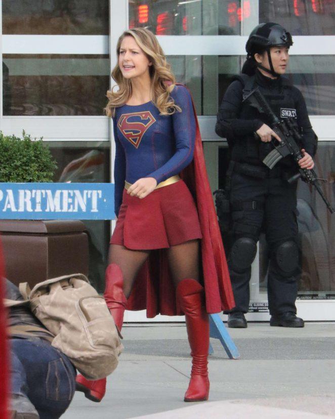 Melissa Benoist - Filming scenes for 'Supergirl' in Vancouver