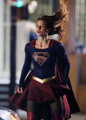 Melissa Benoist - Filming Scenes Of 'Supergirl' in Vancouver