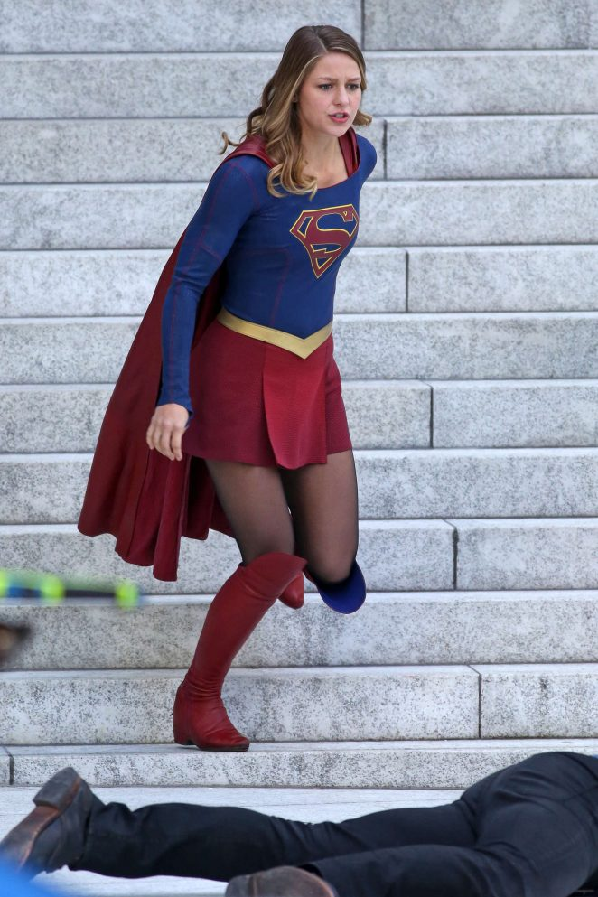 Melissa Benoist: Filming Supergirl -11