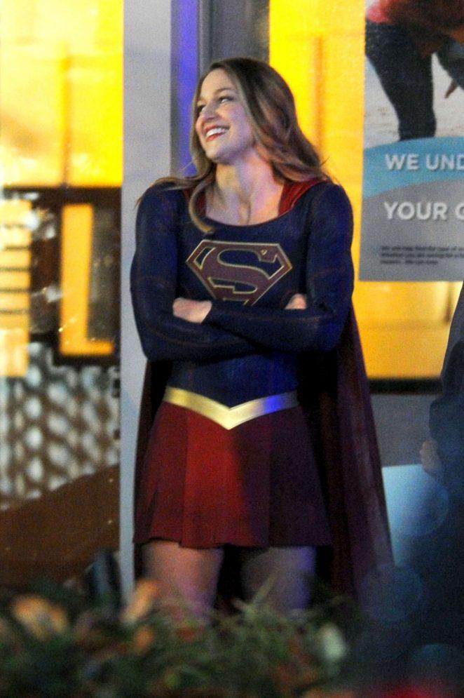 Melissa Benoist Filming 'Supergirl' set in Vancouver