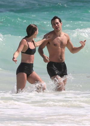 Melissa Benoist in Black Bikini at the Beach in Cancun