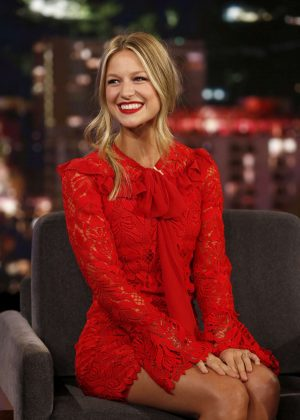 Melissa Benoist in Red Dress - Jimmy Kimmel Live! in LA
