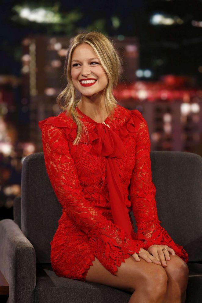 Melissa Benoist in Red Dress - Jimmy Kimmel Live! in LA