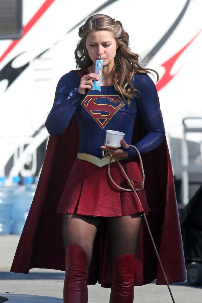 Melissa Benoist on 'Supergirl' set in Vancouver