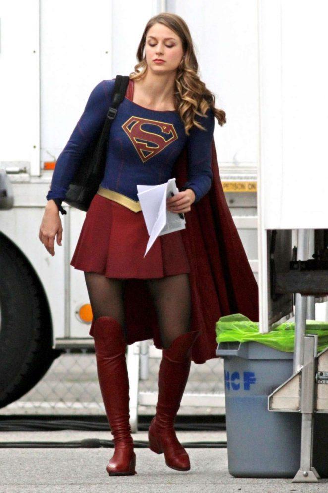 Melissa Benoist on 'Supergirl' set in Vancouver