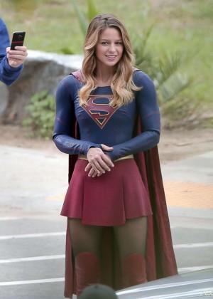 Melissa Benoist - On the set of 'Supergirl' in LA