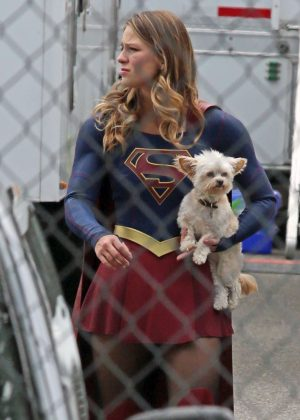 Melissa Benoist on the set of 'Supergirl' in Langley