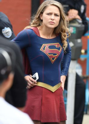 Melissa Benoist - On the set of 'Supergirl' in New Westminster