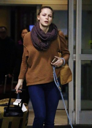 Melissa Benoist with her dog at airport in Vancouver