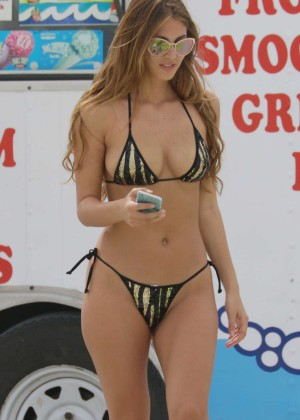 Melissa Castagnoli in Tiny Bikini on Miami Beach