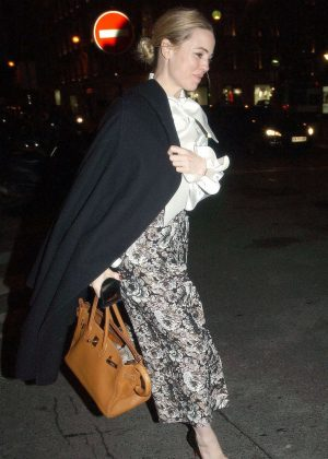 Melissa George in Long Skirt Night Out in Paris