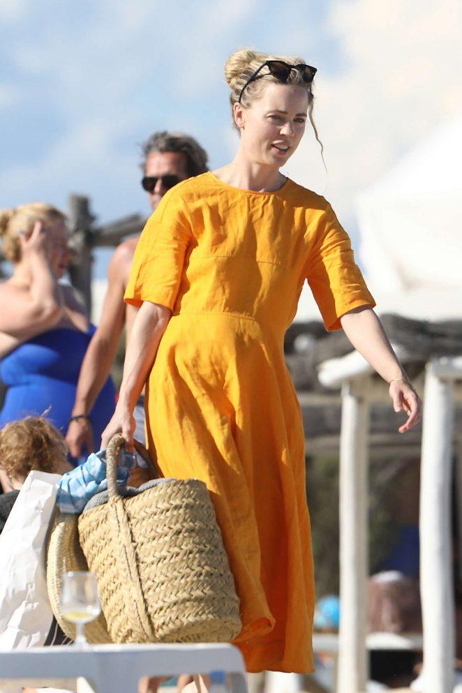 Melissa George on the beach Club 55 in Saint Tropez