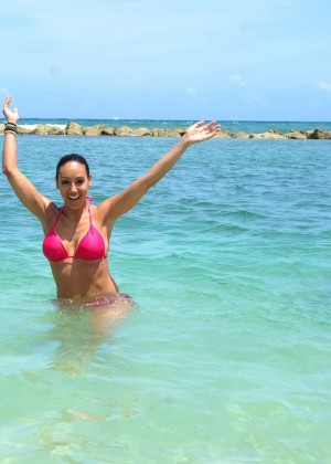 Melissa Gorga in Pink Bikini - Swimming with Dolphins in Jamaica