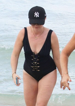 Melissa Joan Hart in Black Swimsuit in Miami
