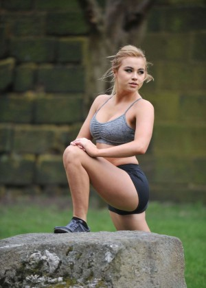 Melissa Reeves in Shorts Working Out in London