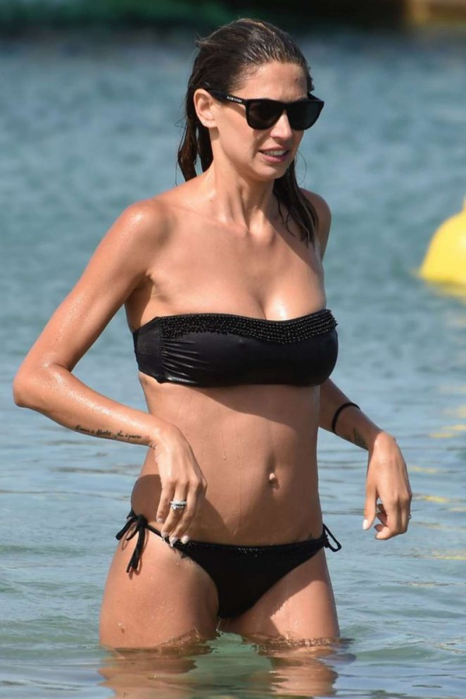 Melissa Satta in Black Bikini in Porto Cervo