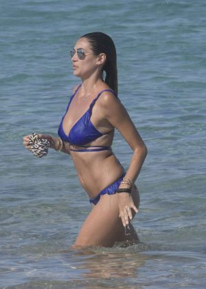 Melissa Satta in Blue Bikini on the beach in Porto Rotondo