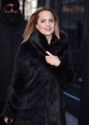 Mena Suvari in Fur Coat - Arrives at AOL Build in NYC