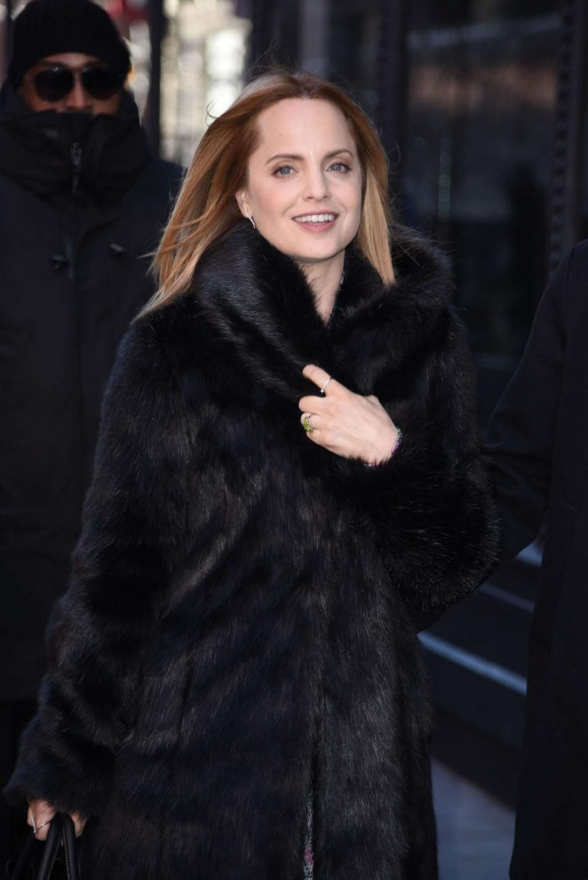 Mena Suvari in Fur Coat - Arrives at AOL Build in NYC