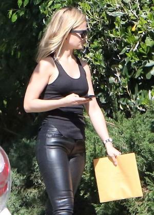 Mena Suvari in Leather Pants out in Los Feliz