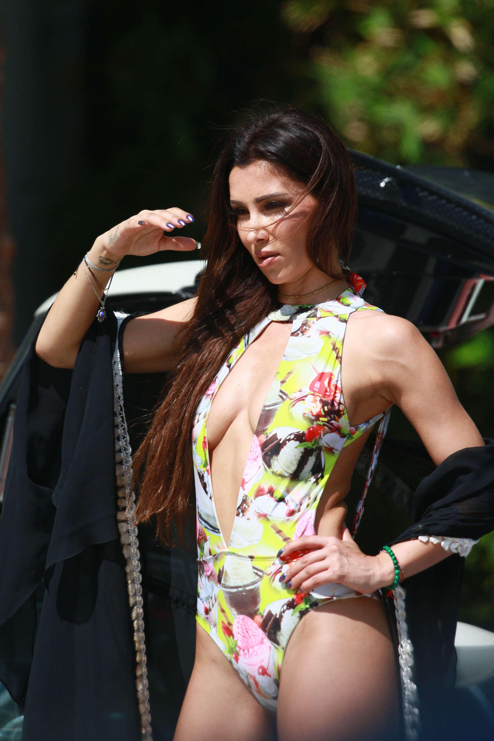 Metisha Schaefer in Floral Swimsuit in Miami