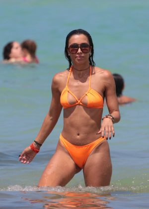 Metisha Schaefer in Orange Bikini at the beach in Miami