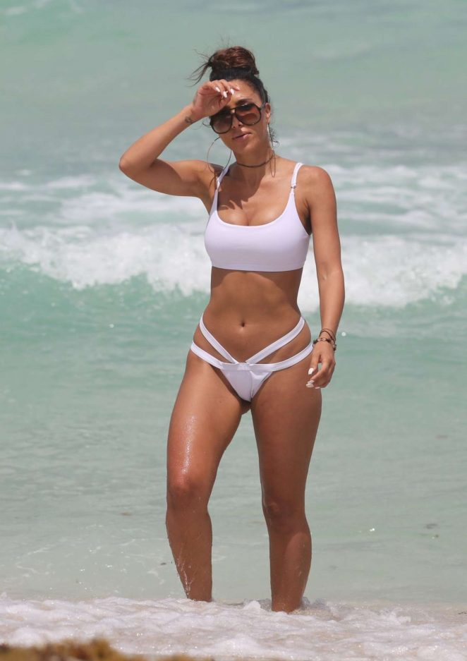 Metisha Schaefer in White Bikini on Miami Beach