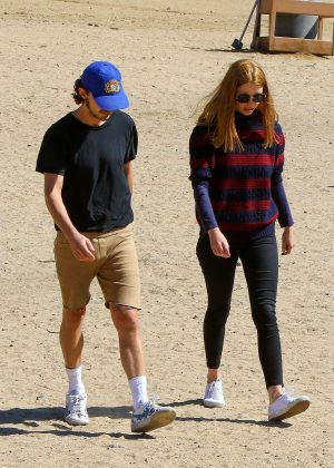 Mia Goth and Shia LaBeouf on the beach in Los Angeles
