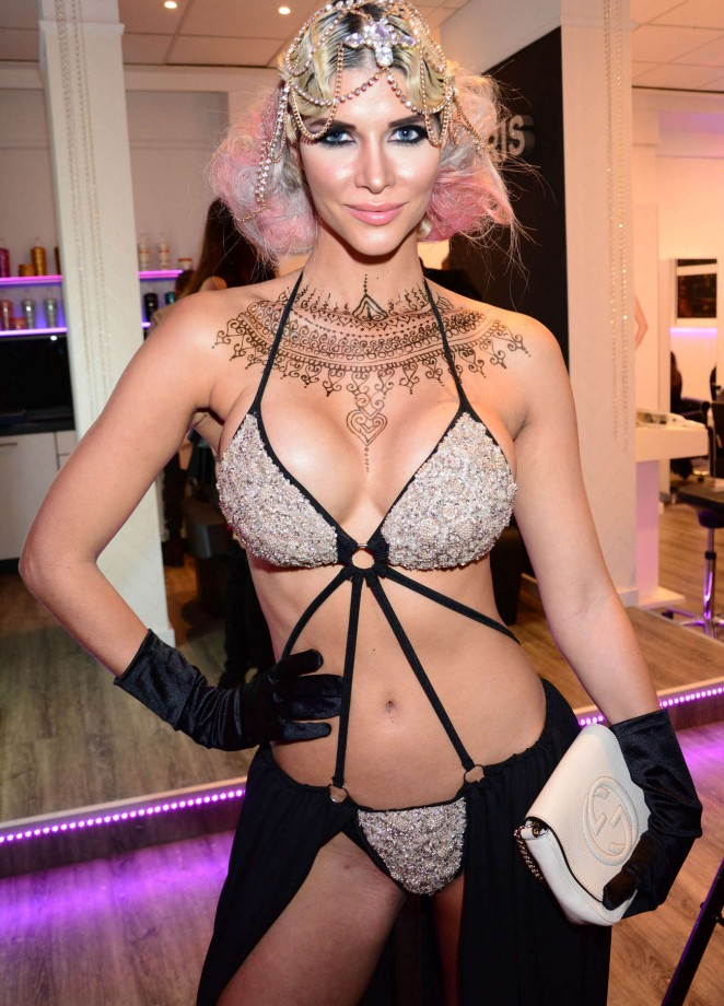 Micaela Schaefer is at some party at a hair salon in Germany