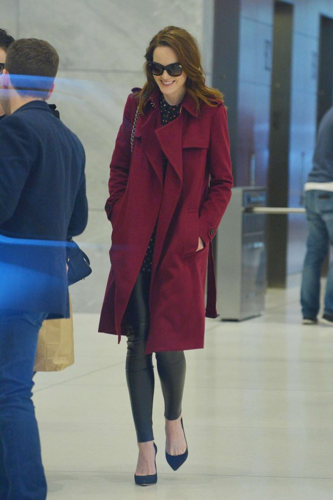 Michelle Dockery in Red Coat out in Manhattan