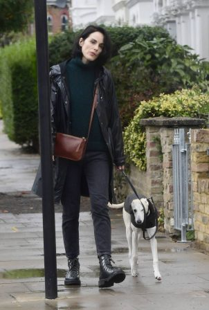 Michelle Dockery - Out for a dog walk in London
