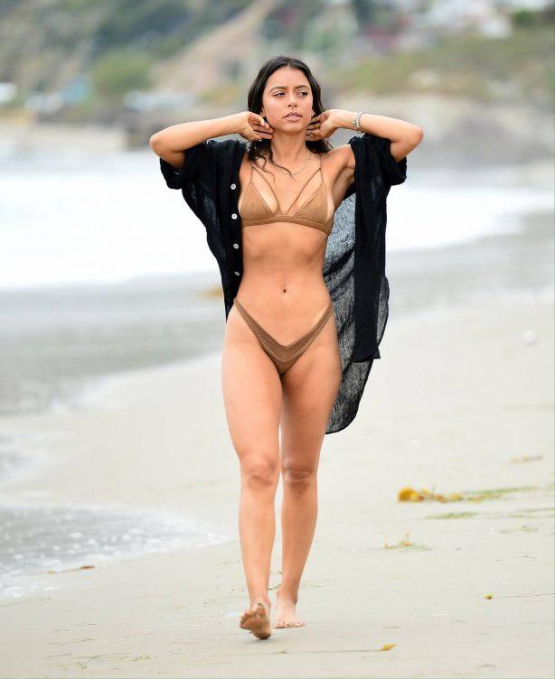 Michelle Hayden in Bikini on the beach in Malibu