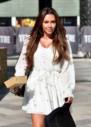 Michelle Heaton in White Mini Dress - ITV Studios in London