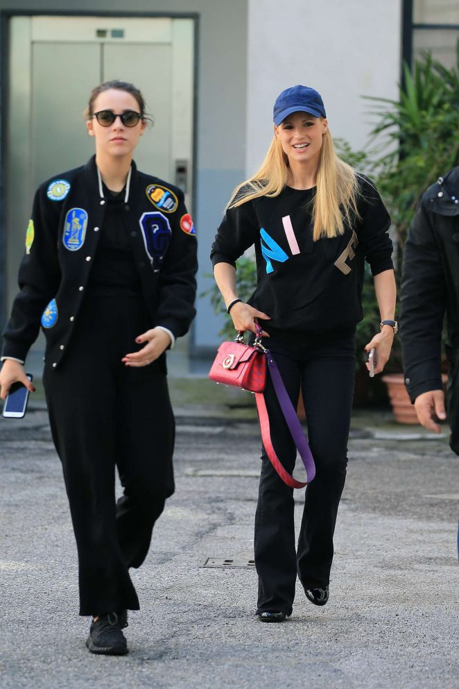 Michelle Hunziker and Aurora Ramazzotti out and about in Milan