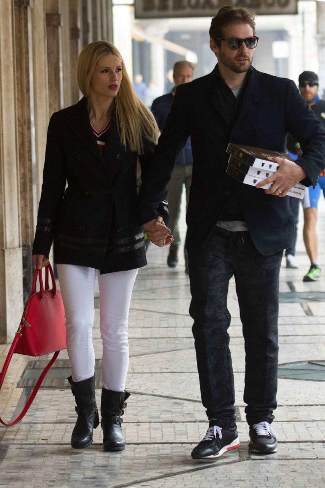 Michelle Hunziker and Tomaso Trussardi out in Bergamo