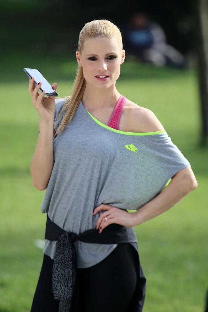 Michelle Hunziker at a park in Milan