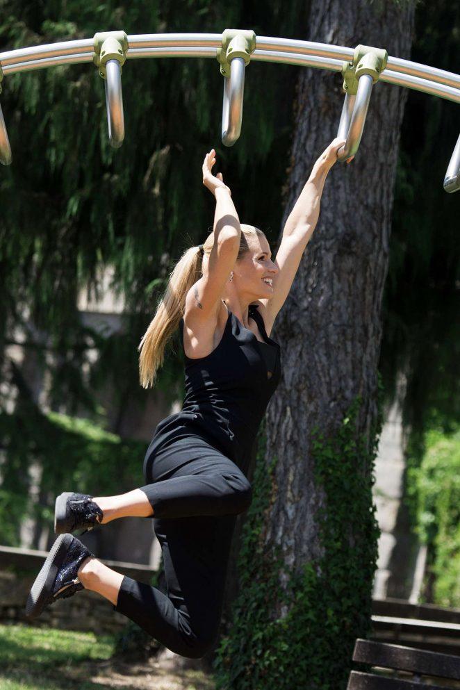 Michelle Hunziker at park in Bergamo