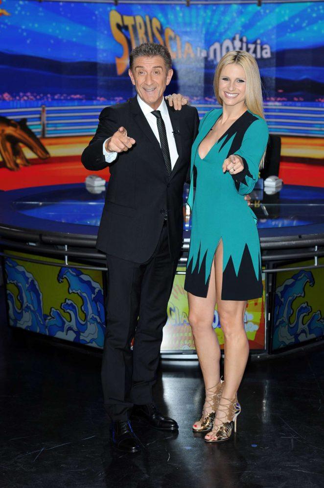 Michelle Hunziker at Striscia La Notizia TV Show -02