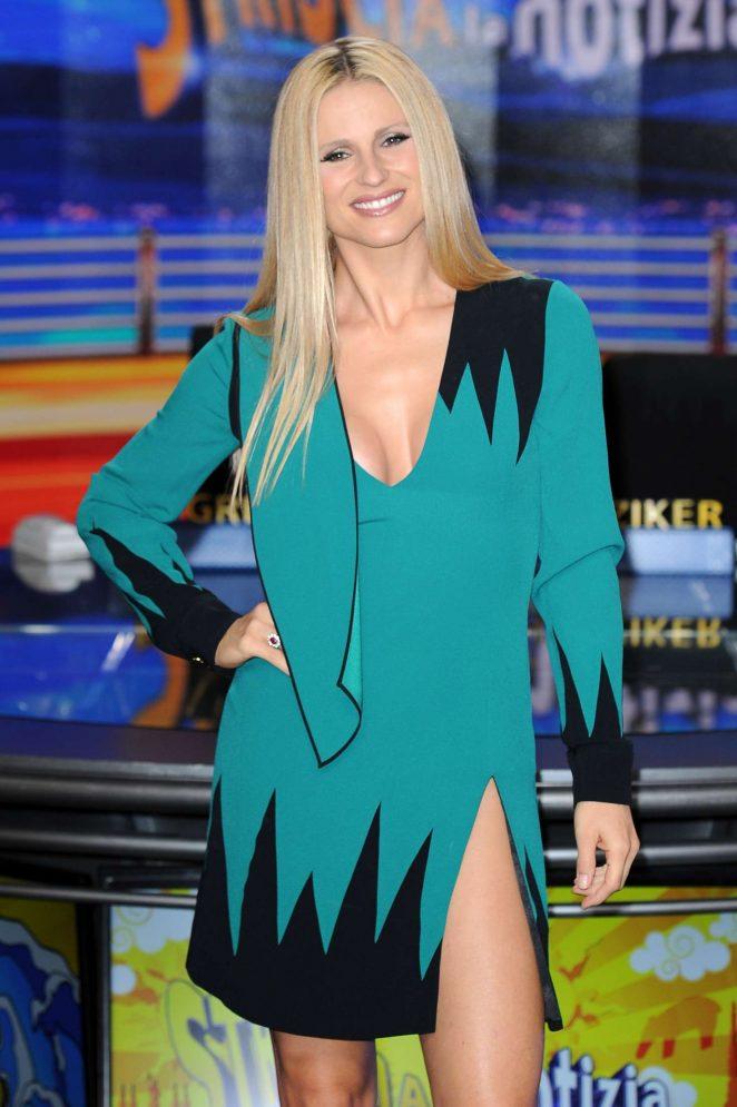 Michelle Hunziker at 'Striscia La Notizia' TV Show in Milan