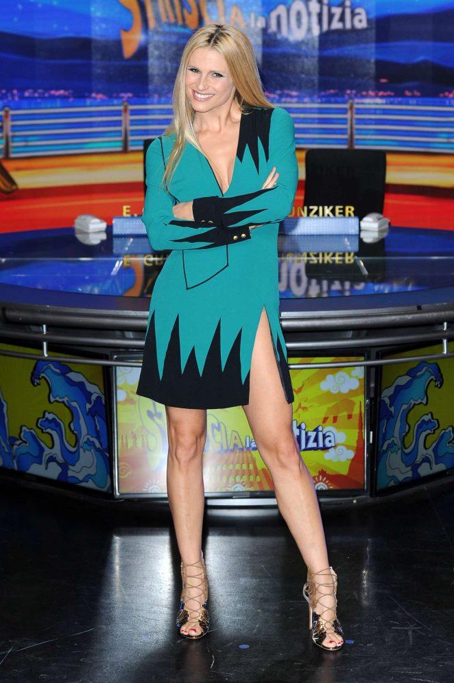 Michelle Hunziker at Striscia La Notizia TV Show -09