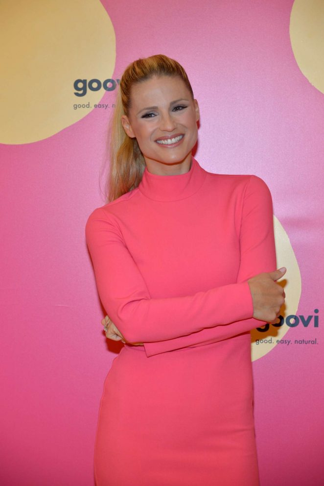 Michelle Hunziker at the launch of beauty line Goovi in Milan