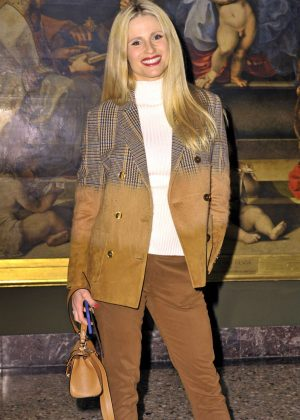Michelle Hunziker at the presentation of Trussardi at Milan Fashion Week
