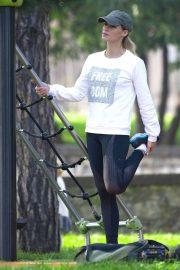 Michelle Hunziker - Having fun at the park in Bergamo